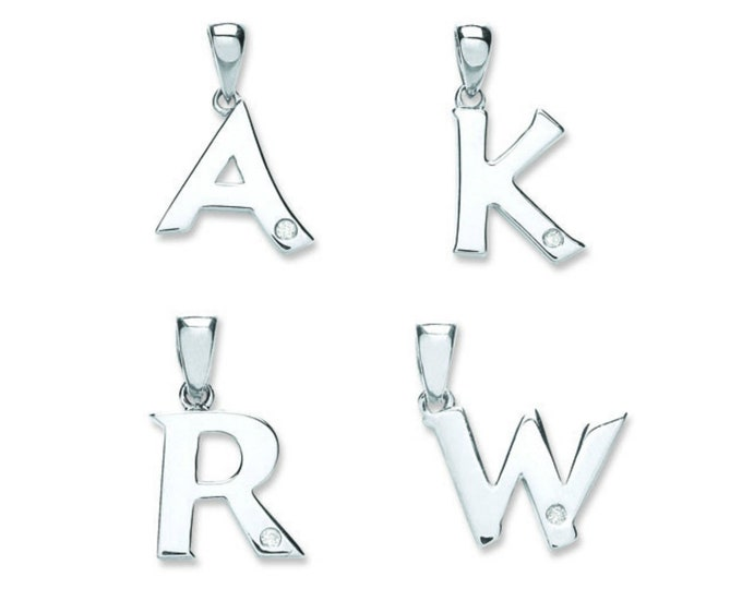 9ct White Gold Solitaire Rubover Diamond Initial Letter Pendant A-W