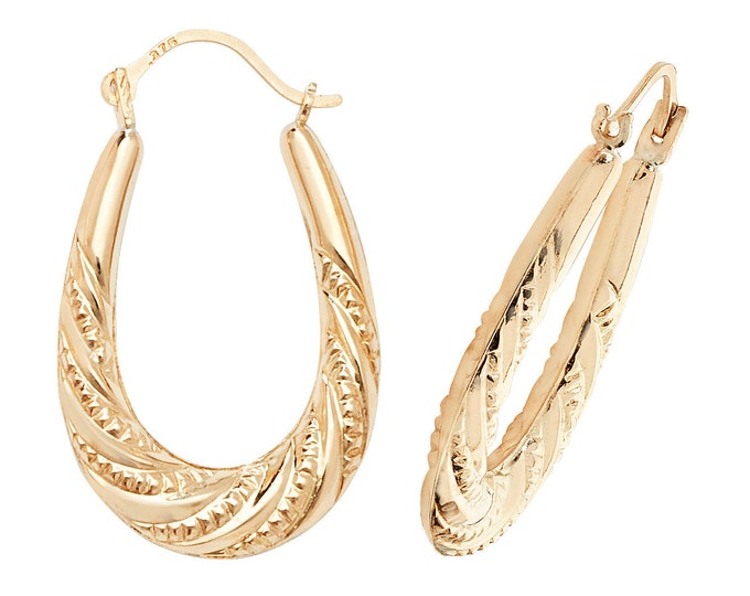 9ct Yellow Gold 20x15mm Hollow Twisted Rope Oval Creole Hoop Earrings