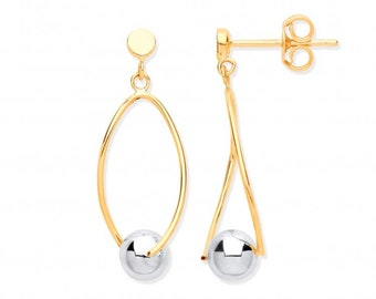 9ct White Gold Ball Suspended on Twisted Oval Hoop Drop Earrings