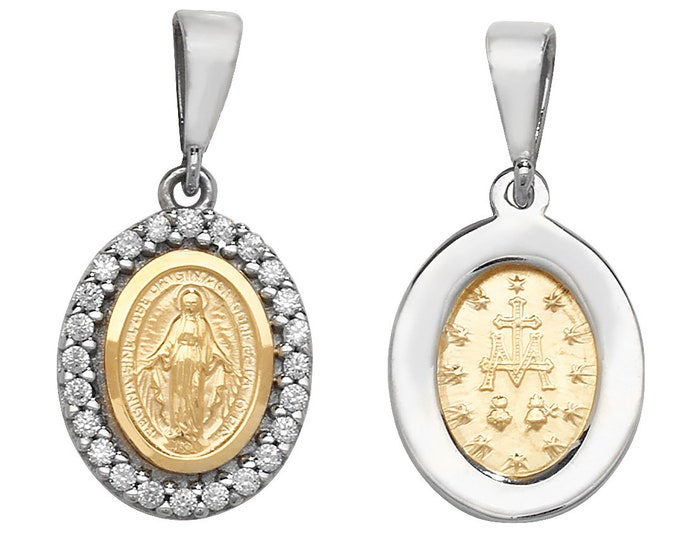 9ct Gold Cz Border Oval Miraculous Madonna Medallion Charm Pendant Hallmarked