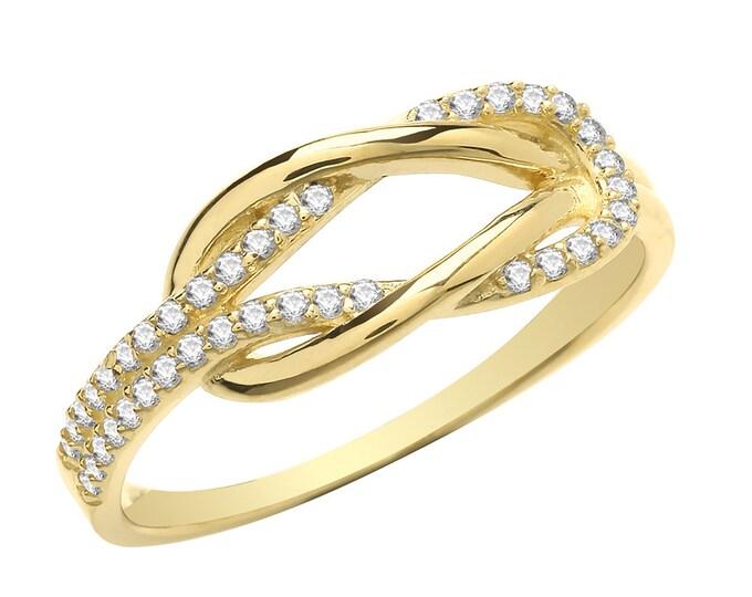 Ladies 9K Yellow Gold Cz Interlocking Knot Ring Hallmarked - Real 9K Gold