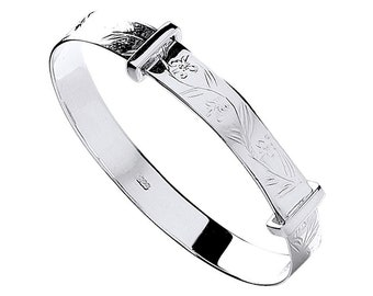 925 Sterling Silver Floral Engraved Pattern Expandable Baby Bangle
