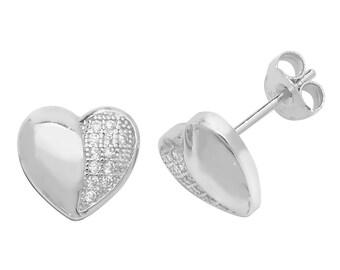 925 Sterling Silver 8mm Half Pave Cz Heart Stud Earrings