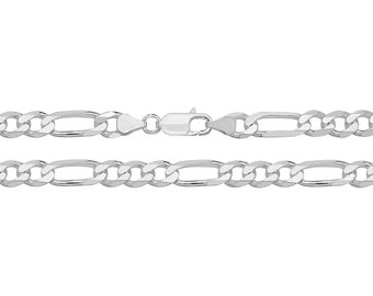 "Gents 8"" Solid 925 Heavy Sterling Silver 6mm Figaro Chain Bracelet"
