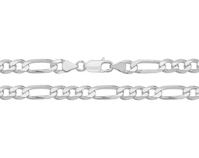 "Gents Solid 925 Heavy Sterling Silver 6mm Figaro Chain 20"" 22"" 24"""