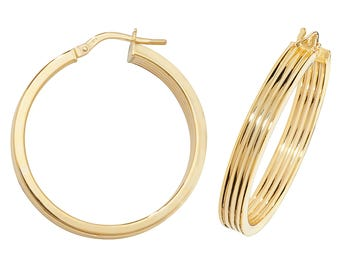 9ct Yellow Gold Flat Ribbed Hollow Hoop Earrings 10mm 15mm 20mm 25mm 30mm 40mm 50mm - Real 9K Gold