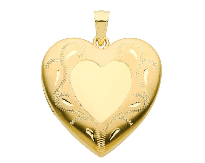 9ct Yellow Gold 24mm Engraved Border 2 Photo Heart Shaped Locket Hallmarked