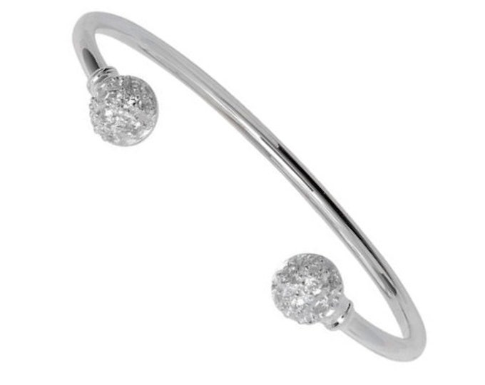 925 Sterling Silver 6mm Double Cz Ball Baby Torque Bangle