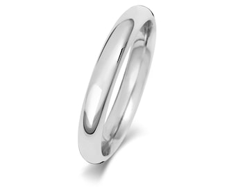 9ct White Gold Plain Court Shape Wedding Ring UK Hallmarked Widths 2mm-8mm Sizes J-Z - Solid 9K Gold