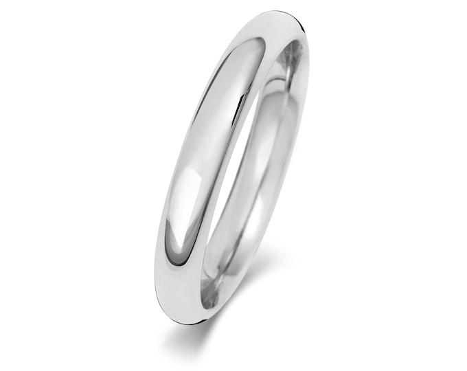 Platinum Plain Court Shape Wedding Ring UK Hallmarked Widths 2mm-4mm Sizes J-Z