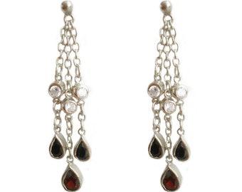 925 Sterling Silver Pear Cut Real Garnet 4.5cm Chain Teardrop Earrings