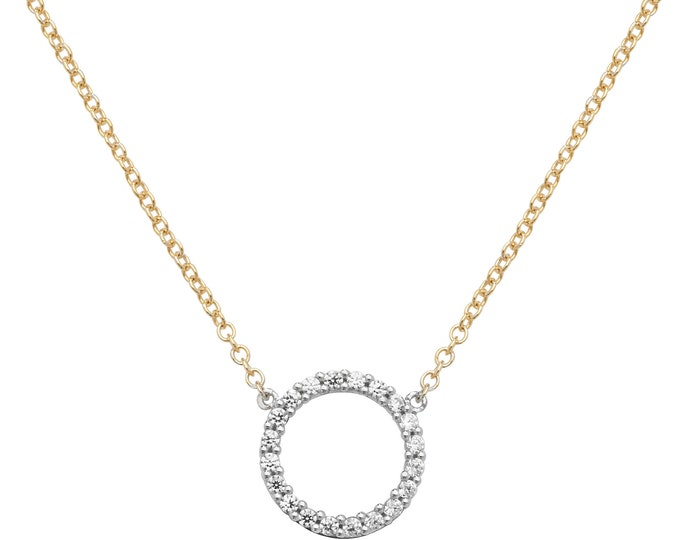 "9ct Yellow Gold 10mm Cz Circle of Life Pendant on 16""-18"" Necklace Hallmarked"