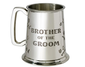 Personalised Brother Of The Groom 1 Pint Pewter Tankard Engraved Customised Message