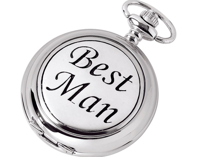 Best Man Full Hunter Chrome & Pewter Pocket Watch - Personalised Engraved Message