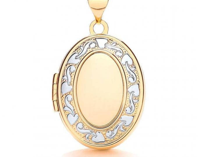9ct Yellow & White Gold Oval Shaped 4 Photo Family Locket With Embossed Design