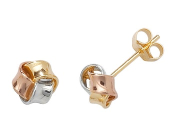 9ct Tri Colour Gold 6mm Twisted Ribbon Knot Stud Earrings - Real 9K Gold