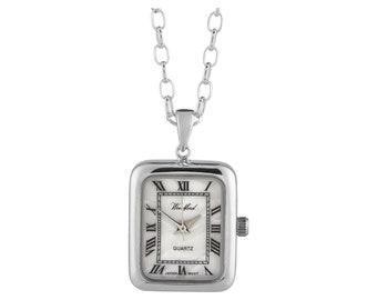 "Ladies Art Deco Sterling Silver Woodford Quartz Pendant Watch on 28"" Chain"