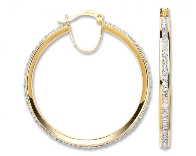9ct Yellow Gold 3.5cm Channel Set Crystal Hoop Earrings Hallmarked