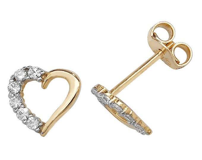 9ct Gold Heart Stud Earrings Set With Cz Stones 6x6mm