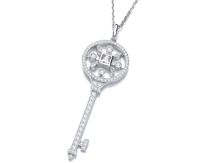 "Victorian Design Sterling Silver & Pave Set Cz Key Pendant on 16""- 18"" Necklace"