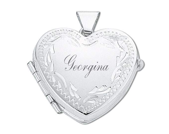 Sterling Silver Engraved 4 Photo Family Heart Locket-Personalised Name & Message