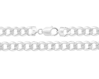 """Gents Solid 925 Heavy Sterling Silver Flat 9mm Curb Chain Necklace 20"""" 22"""" 24"""""""