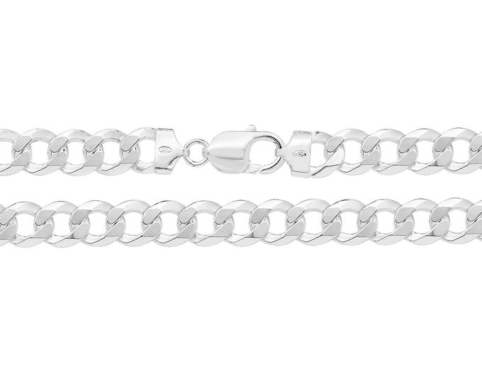 "Gents Solid 925 Heavy Sterling Silver Flat 9mm Curb Chain 20"" 22"" 24"""