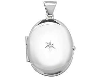 Sterling Silver Single Diamond 2 Photo Plain Oval Locket 2.2cm x 2cm Personalised Engraved