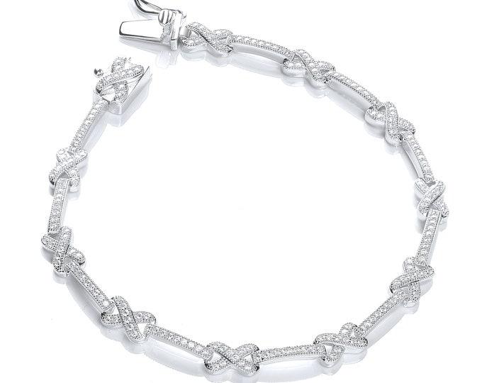 "Vintage Design 925 Sterling Silver Brilliant Micro Pave Cz Kisses 7"" Bracelet"