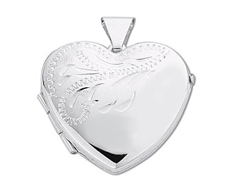 925 Sterling Silver 20mm Half Engraved 2 Photo Heart Shaped Locket