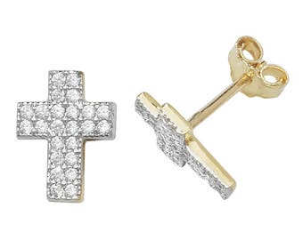 9ct Yellow Gold Pave Cz Crucifix Cross Stud Earrings 8x6mm - Real 9K Gold