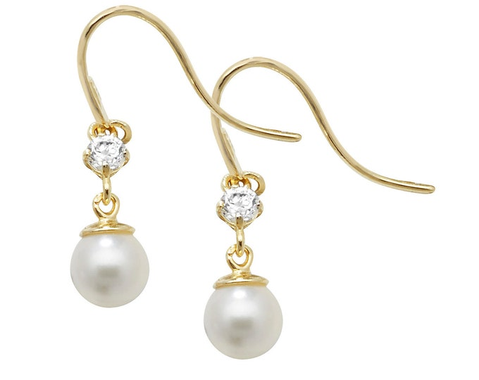 9ct Yellow Gold 4mm Cultured Pearl & Cz Hook Drop Earrings