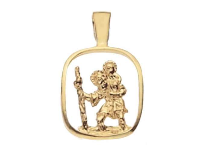 9ct Yellow Gold 1.4cm Square Cut Out St Christopher Medallion Charm Pendant