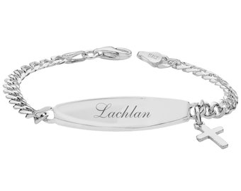 """Personalised 925 Sterling Silver Baby 6"""" ID Cross Charm Bracelet - Engraved Name"""