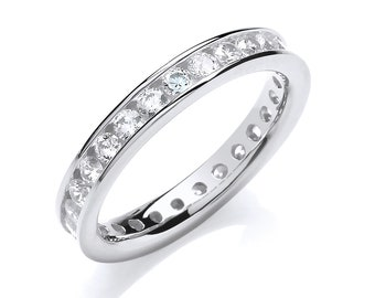 925 Sterling Silver 3mm Full Channel Set Brilliant Cz Eternity Ring
