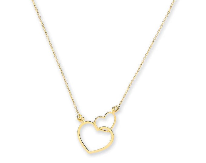 "9ct Yellow Gold Two Hearts Pendant on Adjustable 16""-18"" Rolo Chain Necklace"