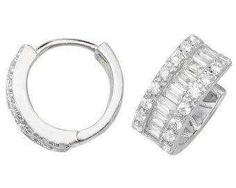 925 Sterling Silver 10mm Diameter Baguette Cz Hinged Hoop Earrings
