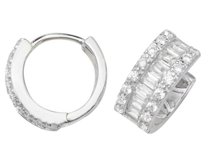 Sterling Silver 10mm Diameter Baguette Cz Hinged Hoop Earrings