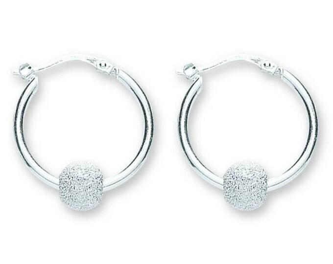 925 Sterling Silver Suspended Glitter Ball Hoop Earrings