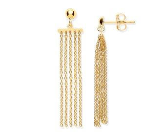 9ct Yellow Gold 4cm Chain Link Tassel Drop Earrings Hallmarked