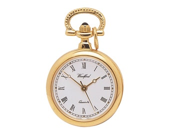 """Ladies 25mm Gold Plated Woodford Quartz Fob Watch Pendant With 28"""" Chain Necklace"""