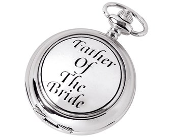 Father of The Bride Full Hunter Chrome & Pewter Pocket Watch - Personalised Engraved Message