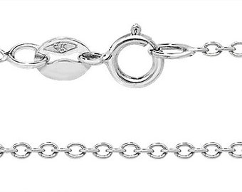 """9ct White Gold Lightweight Rolo Chain 16"""" 18"""" 20"""" - Real 9K Gold"""