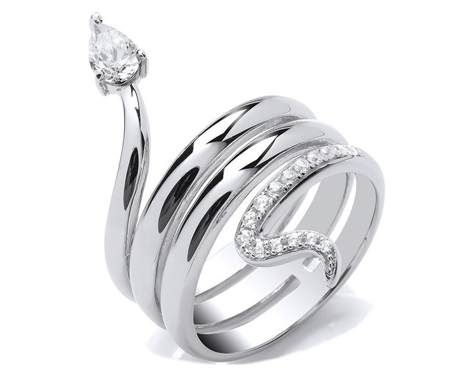 Contemporary Triple Coiled Snake Ring With Pear Cut Cz Head 925 Sterling Silver