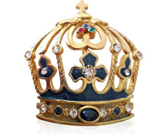 Vintage Regal Queens Crown Brooch Set With Swarovski Crystals & Blue Enamel