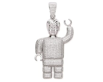 Large 6cm Robot Lego Man Pendant 925 Sterling Silver Micro Pave Cz Hallmarked
