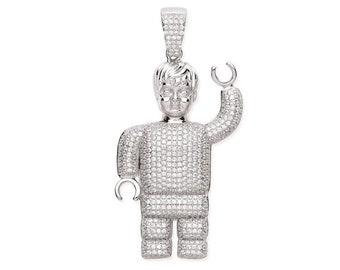 Large 6cm Robot Lego Man Pendant 925 Sterling Silver Micro Pave Cz Hallmarked