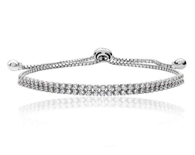 "925 Sterling Silver Double Row Claw Set Cz 7"" Friendship Toggle Bracelet"