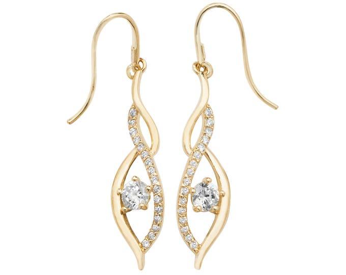 9ct Yellow Gold Cz Ornate Twisted 2.5cm Teardrop Fish Hook Earrings