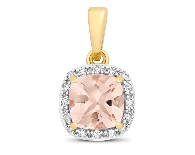 9ct Yellow Gold 0.08ct Diamond 6mm Cushion Cut Pink Morganite Pendant